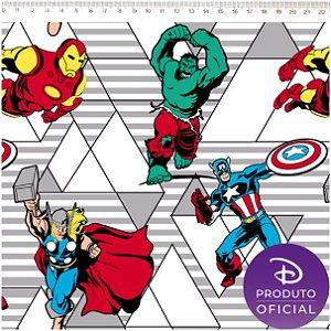 Tricoline Personagem Marvel - Vingadores Retro, 100% Algodão, Unid. 50cm x 1,50mt