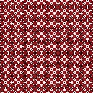 Tricoline Cerca de Flores Vermelho, 100% Algodão, Unid. 50cm x 1,50mt