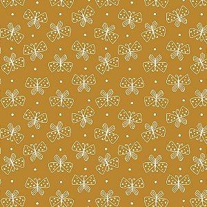 Tricoline Mini Borboletas Mostarda, 100% Algodão, Unid. 50cm x 1,50mt