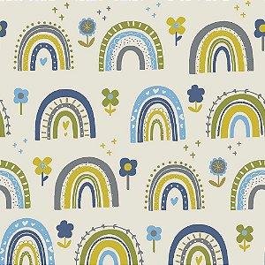 Tricoline Blue Flower Rainbow, 100% Algodão, Unid. 50cm x 1,50mt