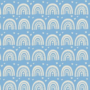 Tricoline Blue Rainbow, 100% Algodão, Unid. 50cm x 1,50mt
