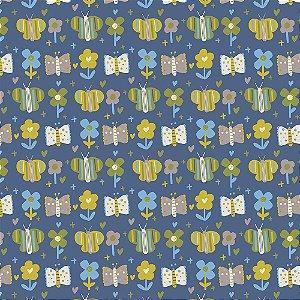 Tricoline Blue Butterfly, 100% Algodão, Unid. 50cm x 1,50mt