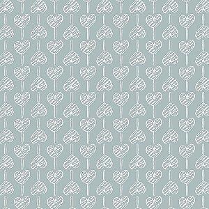 Tricoline Pirulito de Corações Cinza, 100% Algodão, Unid. 50cm x 1,50mt
