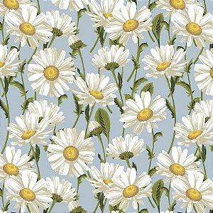 Tricoline Daisy Blossom Azul, 100% Algodão, Unid. 50cm x 1,50mt
