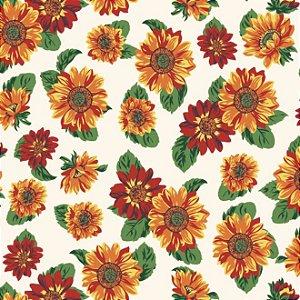 Tricoline Estampado Floral Girassol Fundo Claro - 100% Algodão, Unid. 50cm x 1,50mt