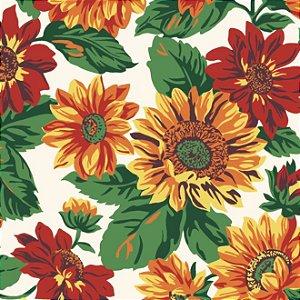 Tricoline Estampado Floral Girassol Grande Fundo Claro - 100% Algodão, Unid. 50cm x 1,50mt
