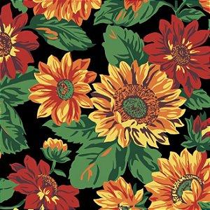 Tricoline Estampado Floral Girassol Grande Fundo Preto - 100% Algodão, Unid. 50cm x 1,50mt