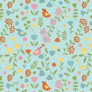 Tricoline Estampado Pássaros e Flores Fundo Verde, 100% Algodão, Unid. 50cm x 1,50mt