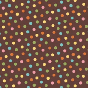 Tricoline Estampado Poá Colorido Fundo Marrom, 100% Algodão, Unid. 50cm x 1,50mt
