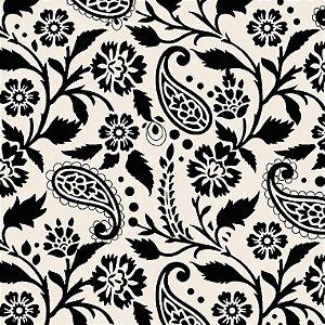 Tricoline Estampado Ramalhetes Vintage Preto, 100% Algodão, Unid. 50cm x 1,50mt