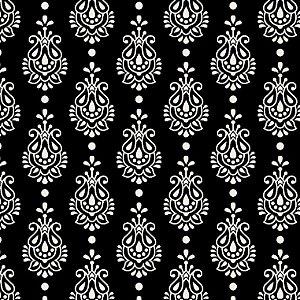 Tricoline Estampado Arabesco Finesse Preto, 100% Algodão, Unid. 50cm x 1,50mt