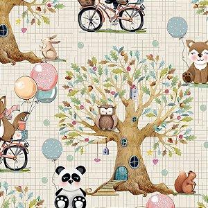 Tricoline Digital Paisagem Floresta 100% Algodão, Unid. 50cm x 1,50mt