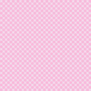 Tricoline Estampado Cerca de Flores Rosa Bebê, 100% Algodão, Unid. 50cm x 1,50mt