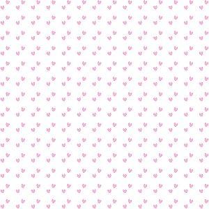 Tricoline Estampado Mini Corações Rosa Bebê, 100% Algodão, Unid. 50cm x 1,50mt
