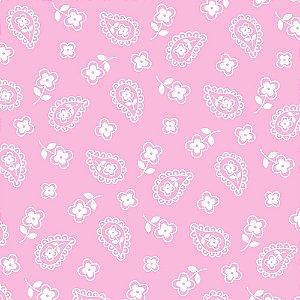 Tricoline Estampado Mini Cashmere Rosa Bebê, 100% Algodão, Unid. 50cm x 1,50mt