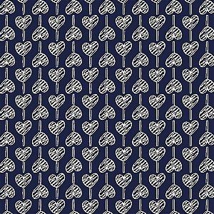 Tricoline Estampado Pirulito de Corações Marinho, 100% Algodão, Unid. 50cm x 1,50mt