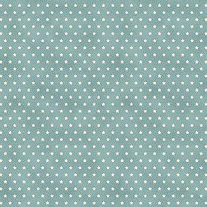 Tricoline Estampado Estrelinha Tiffany, 100% Algodão, Unid. 50cm x 1,50mt