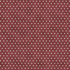 Tricoline Estampado Estrelinha Tijolo, 100% Algodão, Unid. 50cm x 1,50mt