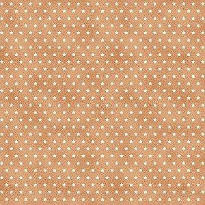 Tricoline Estampado Estrelinha Pessego, 100% Algodão, Unid. 50cm x 1,50mt
