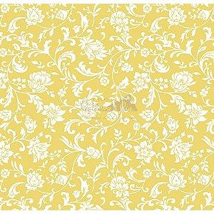 Tecido Tricoline Floral Isis (Amarelo), 100% Algodão, Unid. 50cm x 1,50mt