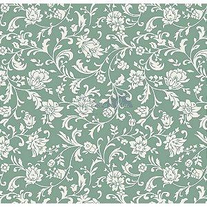 Tecido Tricoline Floral Isis (Verde Vintage), 100% Algodão, Unid. 50cm x 1,50mt