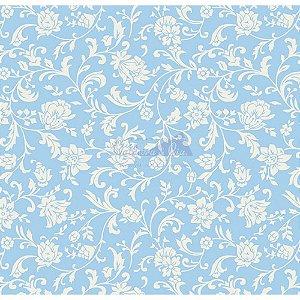 Tecido Tricoline Floral Isis (Azul), 100% Algodão, Unid. 50cm x 1,50mt
