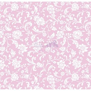 Tecido Tricoline Floral Isis (Rose/Branco), 100% Algodão, Unid. 50cm x 1,50mt