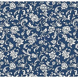 Tecido Tricoline Floral Isis (Marinho/Branco), 100% Algodão, Unid. 50cm x 1,50mt