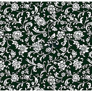 Tecido Tricoline Floral Isis (Preto/Branco), 100% Algodão, Unid. 50cm x 1,50mt