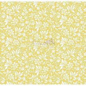 Tecido Tricoline Gerbera (Amarelo), 100% Algodão, Unid. 50cm x 1,50mt