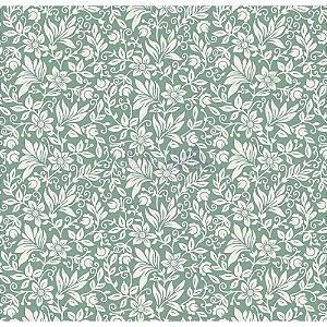 Tecido Tricoline Gerbera (Verde Vintage), 100% Algodão, Unid. 50cm x 1,50mt