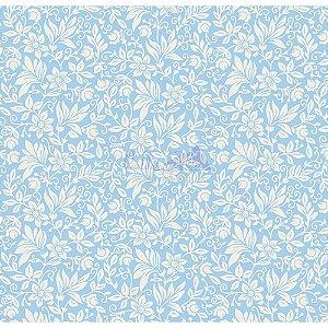 Tecido Tricoline Gerbera (Azul), 100% Algodão, Unid. 50cm x 1,50mt