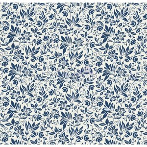 Tecido Tricoline Gerbera (Branco/Marinho), 100% Algodão, Unid. 50cm x 1,50mt