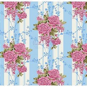 Tecido Tricoline Flora (Azul), 100% Algodão, Unid. 50cm x 1,50mt