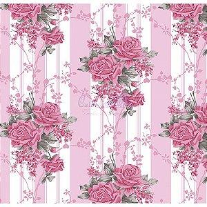 Tecido Tricoline Flora (Rose), 100% Algodão, Unid. 50cm x 1,50mt