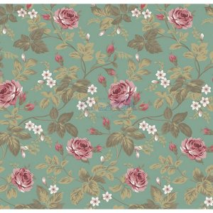 Tecido Tricoline Floral Dália (Verde Vintage), 100% Algodão, Unid. 50cm x 1,50mt