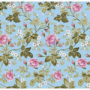Tecido Tricoline Floral Dália (Azul), 100% Algodão, Unid. 50cm x 1,50mt