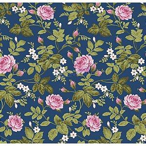 Tecido Tricoline Floral Dália (Azul Safari), 100% Algodão, Unid. 50cm x 1,50mt