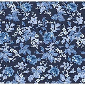 Tecido Tricoline Floral Dália (Marinho), 100% Algodão, Unid. 50cm x 1,50mt