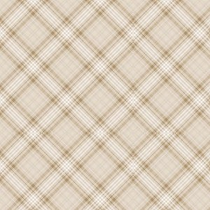 Tricoline Digital Cream Plaid, 100% Algodão, Unid. 50cm x 1,50mt