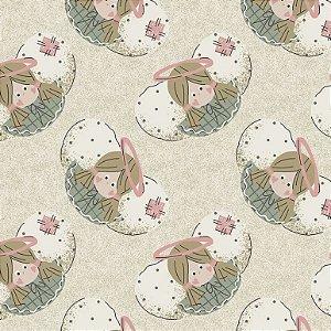 Tricoline Estampado Rostos Anjinhos Pastel, 100% Algodão, Unid. 50cm x 1,50mt