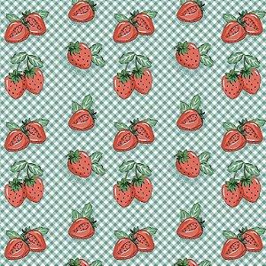 Tricoline Estampado Mini Morangos, 100% Algodão, Unid. 50cm x 1,50mt