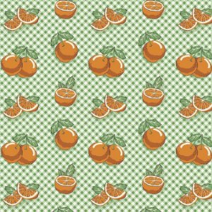 Tricoline Estampado Mini Laranjas, 100% Algodão, Unid. 50cm x 1,50mt