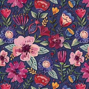 Tricoline Digital Floral Elegance Escuro 100% Algodão, Unid. 50cm x 1,50mt