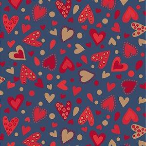 Tricoline Estampado Amore Love Corações Fundo Azul, 100% Algodão, Unid. 50cm x 1,50mt