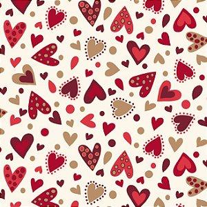 Tricoline Estampado Amore Love Corações Fundo Claro, 100% Algodão, Unid. 50cm x 1,50mt
