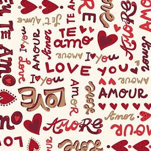 Tricoline Estampado Amore Love Fundo Claro, 100% Algodão, Unid. 50cm x 1,50mt