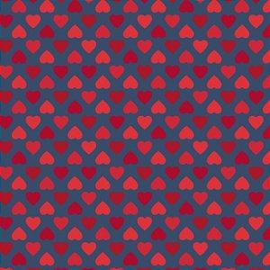 Tricoline Estampado Amor Mini Corações Fundo Azul, 100% Algodão, Unid. 50cm x 1,50mt
