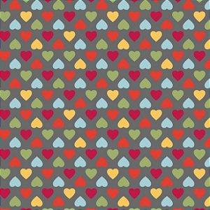 Tricoline Amor Mini Corações Coloridos Fundo Cinza, 100% Algodão, Unid. 50cm x 1,50mt