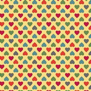 Tricoline Amor Mini Corações Coloridos Fundo Amarelo, 100% Algodão, Unid. 50cm x 1,50mt